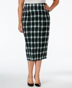 Melissa McCarthy Seven7 Trendy Plus Size Plaid Pencil Skirt | macys.com