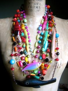 crazy rainbow fishing lure and beady necklace