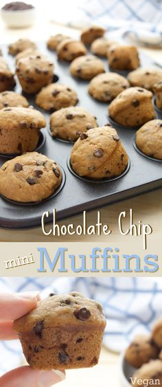 Ready in 20 minutes, these #vegan Chocolate Chip Mini Muffins will be a new go-to, pop-able treat! Bursting with chocolate chip cookie flavor, these soft mini muffins are sure to be a hit! They're great for lunch boxes or as a fun, after school snack. (vegan, dairy-free, egg-free)