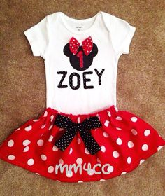 Minnie Mouse outfit Dress first 1st Birthday Party Red Skirt onesie Disney baby Girl Personalized Newborn 3 6 9 12 18 24 m 3T 4T 5 toddler