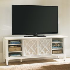 "Tommy Bahama Home Warf Street 72"" TV Stand Entertainment Console in White 543-907"