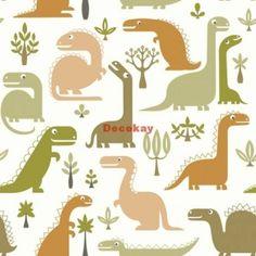 Hooked on Walls – Jack 'n Rose kinderbehang LL10012 Dino's bruin-groen op wit 1