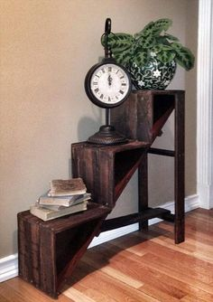DIY Stair Style Pallet Side #Table - 20 Excellent Pallet Furniture Projects | 101 Pallets