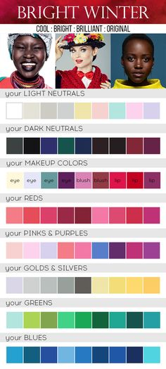 Bright Winter Color Palette - Care - Skin care , beauty ideas and skin care tips Cool Winter Color Palette, Deep Winter Colors, Paleta Deep Winter, Bright Winter Outfits, Winter Typ, Clear Winter, Seasonal Color Analysis, Color Me Beautiful, Winter Makeup