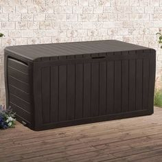 71 Gallon Marvel Plus Outdoor Indoor Storage Deck Box. Gain the ideal storage space for extra cushions, patio accessories and more with the 71 Gallon Marvel Plus Deck Box. Not only does this Marvel Pl Plastic Storage Sheds, Wooden Storage Sheds, Shed Storage, Built In Storage, Vertical Storage, Diy Storage, Deck Box, Consoles, Garbage Shed