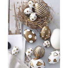 Wie goldig: Ostereier Set in gold und weiß. #impressionen #ostern