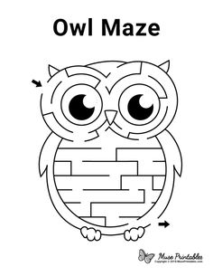 Owl Activities, Preschool Activities At Home, Preschool Lessons, Owl Preschool, Letter O Crafts, Owl Crafts, Mazes For Kids Printable, Free Printables, Activity Sheets For Kids