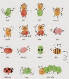 Schöne Karten basteln mit den Kindern mit Fingerabdrücken