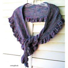 Ruffle Scarf Shawl Shawlette, Hand Knit Merino Wool, Charcoal Gray Grey Plum Teal, Hand Dyed Yarn