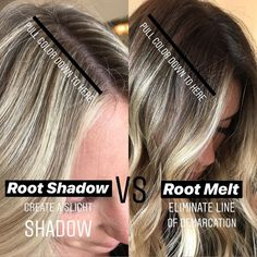Blonding, balayage, shadow roots and money pieces won't be going anywhere in so here's 7 diagrams that'll take your blonding to the next level. Blonde Roots, Brown Blonde Hair, Dark Roots, Black Hair, Shadow Root Blonde, Root Smudge Blonde, Shadow Root Hair, Cabelo Inspo, Redken Hair Products