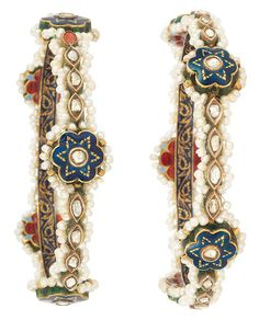 Pair of Indian Gold, Seed Pearl, Foiled-Back Diamond and Enamel Bangle Bracelets  The pair of bangles each set with five stylized flower plaques applied with blue enamel, centering foiled-back diamonds, the reverse with red and periwinkle blue enamel, spaced by 40 foiled-back marquise-shaped diamonds, edged by seed pearls, accented by green enamel and gold decoration, the inside applied with deep royal blue enamel with a scrolled gold leaf motif.