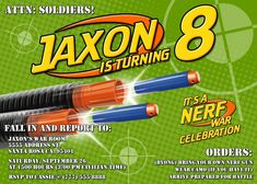 Green Nerf War Birthday Invitation $8.99