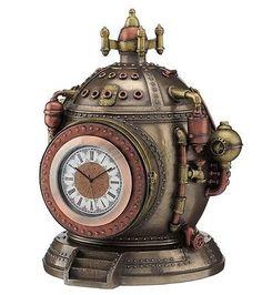 6-75-034-Steampunk-Time-Machine-Trinket-Box-Clock-Home-Decor-Statue-Figure