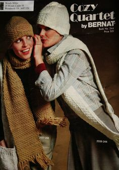 Hat Knitting Patterns Hat Crochet Patterns Scarf by elanknits (Craft Supplies & Tools, Patterns & Tutorials, Fiber Arts, Knitting, hat knitting pattern, scarf patterns, hat crochet pattern, hat patterns, vintage patterns, knitting patterns, knitting pattern, crochet patterns, crochet pattern, Bernat 244, Cozy Quartet, elanknits, vintage pattern)