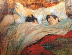 Henri de Toulouse-Lautrec 1812 -- Always have loved this painting... they look so happy and cozy!