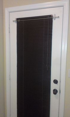 Attractive Blinds On A Metal Door, With Command Hooks.. Got A Small Curtain Rod