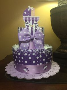 Elegant two tier diaper cake-polka dots purple by CreationsbyLumy
