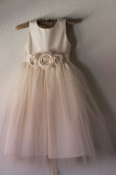 Natural Flower Girl Dress, Custom made for you...  I used a soft 100% cotton organic sateen, and the same cotton for the hand twisted flowers, three