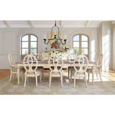 European Cottage Dining Table In Vintage White 007 21 36