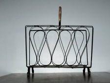 Modern Metal Rattan Handle Wrought Iron Magazine Paper Rack Holder Mid Century