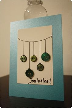 Buttons as baubles, holiday card Christmas Stall Ideas, Diy Christmas Cards, Simple Christmas, Handmade Christmas, New Year's Crafts, Christmas Crafts, Paper Crafts, Diy Cards, Card Making