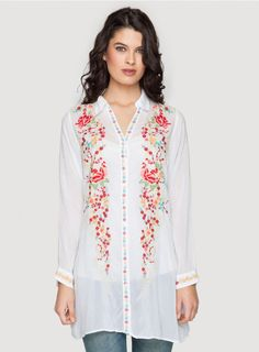 Petals Button Down Top The Johnny Was Collection PETALS BUTTON-DOWN is the ultimate boho embroidered tunic top! This tunic-length button-down blouse features vintage-inspired floral embroidery along the front, accented by embroidered border designs along the placket and sleeve cuffs. Wear the PETALS BUTTON-DOWN with jeans and flats, or try it unbuttoned over a printed maxi dress!  - Rayon Georgette - Full Button Front, Traditional Collar, Long Sleeves - Signature Embroidery - Care…