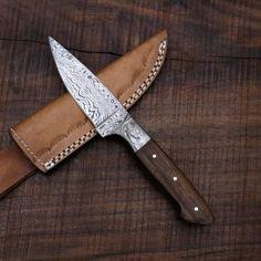 Damascus Steel, Walnut Wood, Leather Description Knife length: length: approximately 300 grams Damascus Steel Sword, Damascus Steel Kitchen Knives, Damascus Knife, Handmade Chef Knife, Handmade Knives, Custom Forge, 1095 Steel, Skinning Knife, Walnut Wood