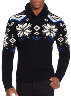 Le cadeau Polo idéal pour lui   notre pull en laine mélangée à motif  flocons de 8fb31e77d984