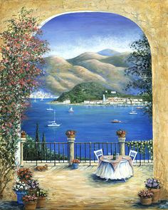 """Bellagio Lake Como From The Terrace"" by Marilyn Dunlap."