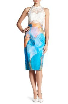 MILLY - Watercolor Print Midi Skirt