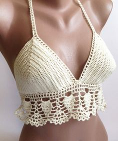This #crochet bikini top is perfect for summer concerts, festivals, belly dancing and beach/pool party. You could wear it with your favorite shorts, skirts or jeans.  100% h... #scarf