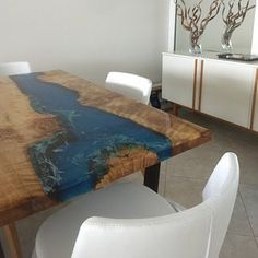 Resin dining table with matching bench