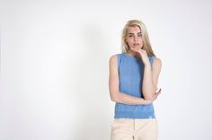 #Cotton #Top | #Parisian Blue It is perfect for a smart office #outfit or a #casual street-style. #flawless #minimal design #summer