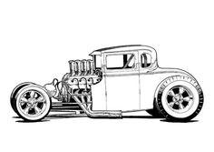 Rat Fink Mooneyes Car Show Rat Fink, Cool Car Drawings, Cartoon Drawings, Pencil Drawings, Cars Coloring Pages, Car Illustration, Illustrations, Truck Art, Kustom Kulture