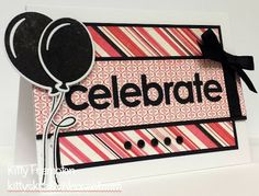 made by kitty: celebrate!!! MFT stamps and dienamics: party balloon. love the pink, white and black.