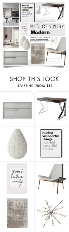 """Mid Century Modern Grey Interior"" by rosalie45 ❤ liked on Polyvore featuring interior, interiors, interior design, home, home decor, interior decorating, Modloft, Global Views, Urban Outfitters and Gandía Blasco"