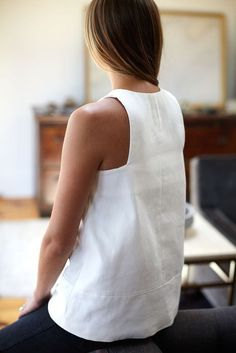 love the cut - need a sleeveless white blouse