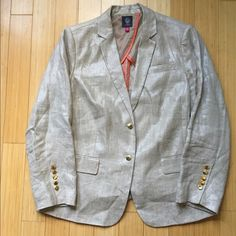 Khaki metallic linen blazer EUC Vince Camuto Size 14W khaki linen blazer from Vince Camuto with a subtle metallic finish that is so chic. Gold single button closure and 5 working gold buttons on each sleeve. Two flap pockets. Only sleeves are lined and in a khaki and white stripe that looks cool if you wish to cuff the sleeves. Only selling because it's too big, I so want to rock it this summer with a Breton tee, white silk shirt, even a band tee! You won't regret this purchase! Vince Camuto…