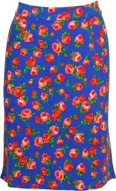 Vintage inspired summer skirt roses in blue - King Louie SS2014