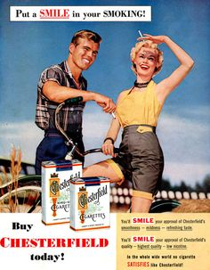 Chesterfield Cigarettes Bicycle Girl Smile 1955