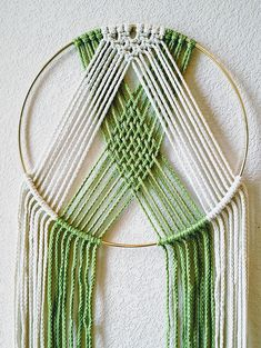 Modern Geometric Macrame Wall Hanging on Brass Ring Pick