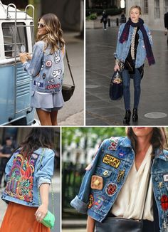 Denim Fashion, Girl Fashion, Fashion Outfits, Denim Jacket Patches, Embroidery Fashion, Embroidered Jeans, Blue Denim, Winter Outfits, Street Style