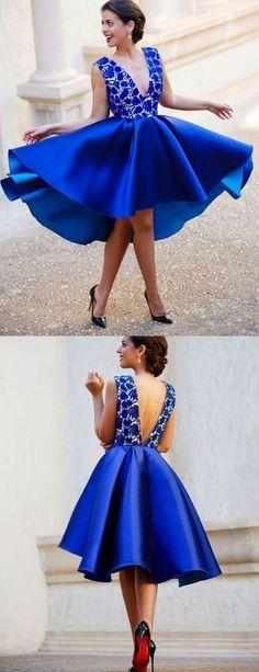Lace Homecoming Dress, Royal Blue Homecoming Dress, V Neck Homecoming Dress, Short Prom Dress, Cute Sweet 16 Dress M3838