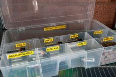garage organization: Batteries sorted by size