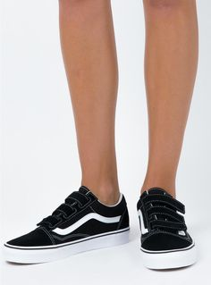 4a24a8376e6da8 Vans Old Skool Velcro Black - front view