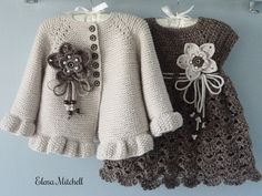 Thank you very much for visiting my store ! This listing for Knit / Crochet Baby Set : Dress and Cardigan. SIZE : 6 - 12 months is READY to SHIP. --------------------------------------------------- If you would like to purchase this PATTERN - click here :