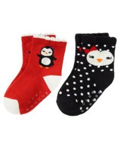NWT Winter Penguin Socks Black Red 12-24 Months Free Shipping