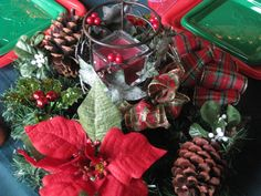 """Christmas Centerpiece & """"Goodwill Find"""" Candle Holder"""