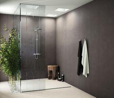 #Baños #modernos #minimalistas. #porcelanico Serie #Foster Gris 100x250 cm, trasmite la sencillez y elegancia del #cemento