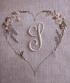 Lovely silk ribbon embroidered heart /khadijaannette/embroidery/ back - 4 LACE Ribbon Embroidery Flowers by Hand - Embroidery Patterns Silk Embroidery Dresses How To Make Silk Ribbon Embroidery Roses stitches and buttons and silk embroidery inspiration SI Embroidery Hearts, Embroidery Letters, Hardanger Embroidery, Hand Embroidery Stitches, Silk Ribbon Embroidery, Embroidery Techniques, Cross Stitch Embroidery, Machine Embroidery, Embroidery Designs